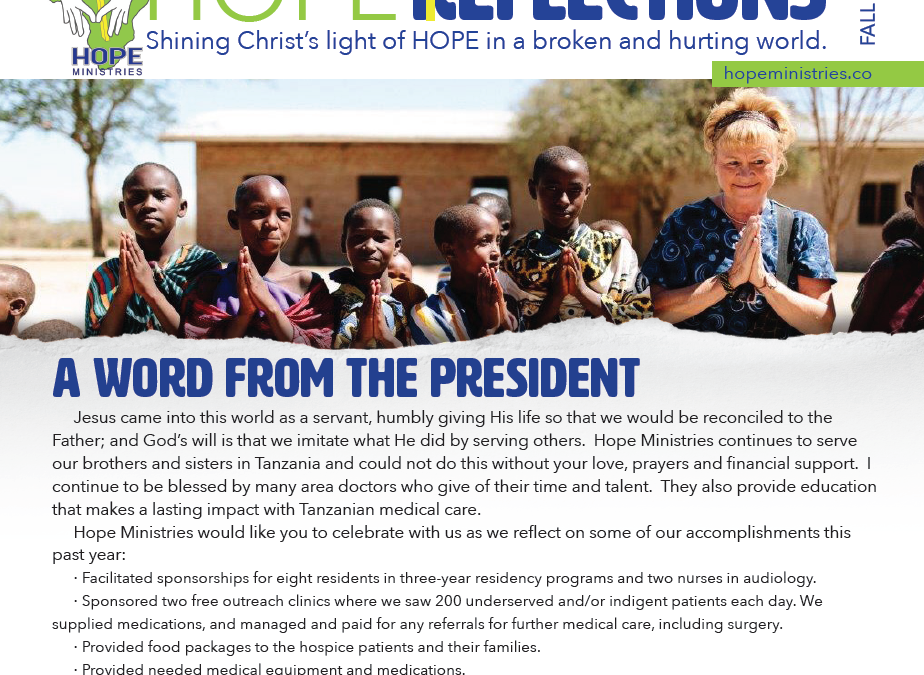Hope Reflections 2018 Newsletter Hope Ministries